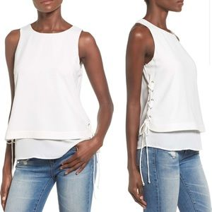 J.O.A. Ivory Side Lace-Up Layered Tank Size M